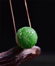 FINE 100% Natural Grade A Jasper Jade Green Carved Bead Pendant 14mm Diameter