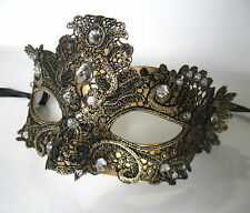 Gold Lace Jeweled Venetian Sexy Woman Mardi Gras Adult Costume Party Mask