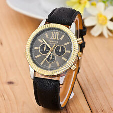 2017 Women Leather Band Gold Dial Analog Quartz Business Wrist Watch