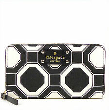 NWT Kate Spade Neda Wellesley Fabric Zip Around Wallet in Black/Cream #1397
