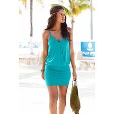 Sexy Blue Women Summer Sleeveless Beach Party Evening Cocktail Short Mini Dress