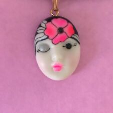 """Flamingo"" Adagio Face Necklace Hand-Painted Porcelain Swarovski Crystal"