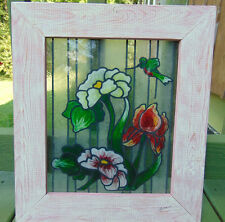 TIFFANY STYLE STAINED GLASS ART PANEL HUMMINGBIRD FLORAL IRIS 16X14 WOOD FRAME