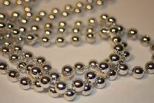 18 FT 8mm Metallic Silver Wedding Pearl Bead Rope Garland Craft Christmas Tree