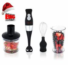 3-in-1 Hand Blender Mixer Set Food Processor Chopper  Whisk Beaker 2-Speed Multi