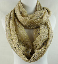 COLLECTION XIIX Infinity Scarf Sparkle Lace Mixed Media Pecan Sandie   NWT $34
