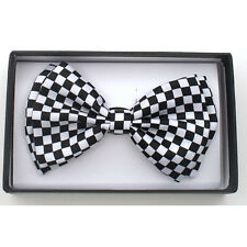 New Tuxedo PreTied White Black Checkered Bow Tie Satin Adjustable Check Bowtie
