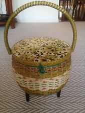 Vintage Singer Sewing Basket-Wicker with Floral Tapestry Top