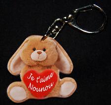 """Porte-clés lapin marron message """"Je t'aime Nounou"""" Baptême anniversaire"""
