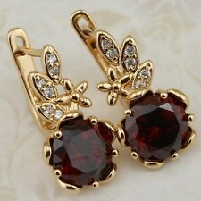 Wonderful Dark Garnet Red Gem Jewelry Yellow Gold Filled Huggie Earrings h2020