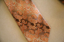 PRONTO UOMO Paisley orange peach brown 100% SILK Neck Tie NeckTie- LONG - Italy