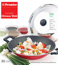 Premier Non-Stick Chinese Wok Stir Fry Pan with SS Lid 30 cm