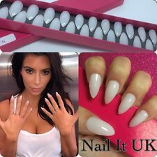 Hand Painted Full Cover False Nails. Stiletto Blush Nude Kim K Nails. 24 Nails
