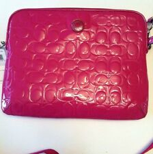 COACH Crossbody IPAD/TABLET BAG  Liquid Magenta Pink Patent Leather NWT F63808