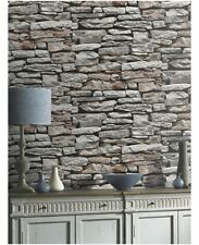 3D Effect Realistic Stone Brick Wall Wallpaper Grey Arthouse VIP 623000