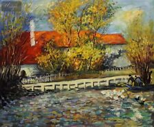 "RENOIR - DUCK POND  20X24 "" OIL PAINTING"