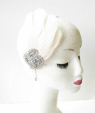 Cream Silver Feather Headband Fascinator Headpiece Vintage Diamante 1920s 1800