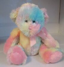 "Ganz Cotton Candy Teddy Bear Plush Pink Purple Blue Yellow 12"" Stuffed Toy Used"