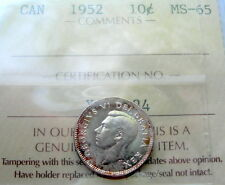 1952 Ten Cents Certified GEM MS BU ** MAGNIFICENT Last Year King George VI Dime