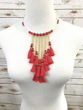 Fringe Necklace, Tassel Necklace, Red Bead, Choker