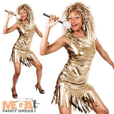 80s Tina Turner Ladies Fancy Dress 1980s Celebrity Rock Popstar Womens Costume