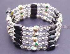 SALE White 6mm round Cloisonne Hematite Magnetic Bead necklace / Bracelet-br283