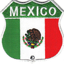 MEXICO FLAG SHIELD, MOTORCYCLE, BIKER, VEST/Iron On Embroidered Patch .Mexican