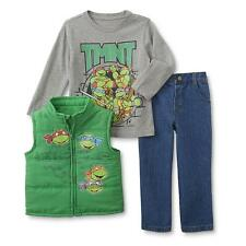 Teenage Mutant Ninja Turtles Boy 3Pc Winter Puffer Vest Top Jeans Outfit/Set 4T