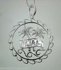 29mm Solid Sterling Silver Guam Banner Openwork Palm Tree Wreath Pendant