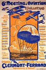 AVIATION POSTER ART AVIATION MEETING CLERMONT-FERRAND FRANCE BIPLANES 1923