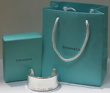Tiffany & Co. Sterling Silver Tiffany 1837 Cuff Bracelet w Box & Bag 6.5 inches