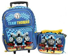 """2016 Thomas the Tank Engine Light Up 16"""" Large Rolling Backpack and Lunch Bag US"""