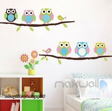 Colourful Owl Bird Tree Branch Wall Decals Removable Stickers decor kids nursery