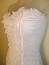 bebe XS Dress Baby Powder Pink Tiered Lace Ruched Wedding Cocktail Party Sexy