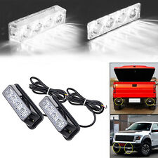 2pc 4LED White Car SUV Truck Pickup Emergency Warning Flash Strobe Light Bar 12V