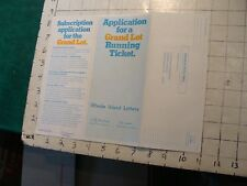 Vintage brochure: RI LOTTERY application for a grand lot ticket 1975