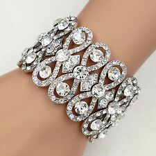 Silver Tone Clear Crystal Bridal Wedding Bangle Cuff Stretch Bracelet 09998