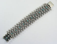 "925 sterling silver heavy woven bracelet with turquoise 1 1/2"" wide"