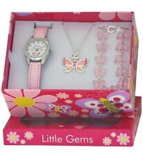 CHILDS BUTTERFLY WATCH & JEWELLERY CHARM BRACELET NECKLACE GIFT SET BOXED GTEE