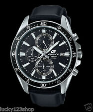 EFR-546L-1A Black Casio Watches Edifice Analog Leather Band 100m New Model