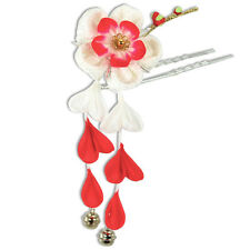 Japanese Hair Ornament Kanzashi Color Silk Flower Red Wisteria Bell Small Prong