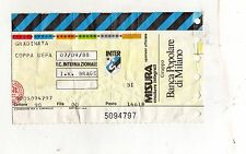 CALCIO   BIGLIETTO  TICKET    COPPA   UEFA  INTER   I.K.  BRAGE  7-9-1988