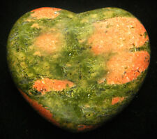 CARVED - UNAKITE Crystal Heart w/Description Card & Pouch - Healing Reiki Stone