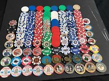 Collection Of Clay Poker Chips, Over 200, Including Paulson Sets and Error Chips