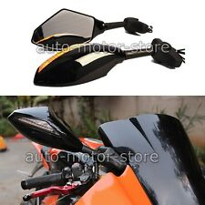 UNIVERSAL MOTORCYCLE LEFT & RIGHT REAR VIEW SIDE MIRRORS WITH LED TURN SIGNAL