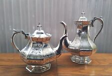 Victorian silver plate octagonal tea and coffee pots - Elkington & Co dated 1852