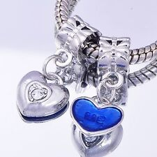 2PCS GF/Silver Enamel CZ Heart Charms BEADS Fit European DIY D8315