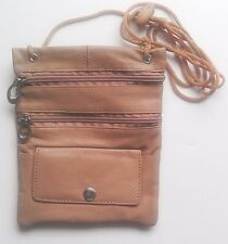 TAN BIG PASSPORT Genuine Leather ID Holder Neck Pouch Wallet TRAVEL NWT