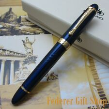 JINHAO Blue And Gold clip Fountain Pen M Nib ink pen