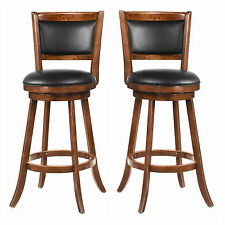 Set of 2 Casual Espresso 29H Swivel Bar Stool Wood Chair with Vinyl Seat Back